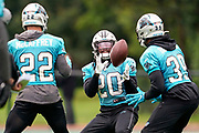 Jordan Scarlett (RB) of the Carolina Panthers warms up with the other running back during the Carolina Panthers training session / press conference held at Harrow School, Harrow, United Kingdom on 11 October 2019.