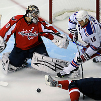 28 April 2009:   Washington Capitals goalie Simeon Varlamov (40) stops a shot by New York Rangers left wing Sean Avery (16) in the 1st period in the seventh game of the Eastern Conference NHL quarterfinal playoff game at the Verizon Center in Washington, D.C.  The Washington Capitals defeated the New York Rangers 2-1 in the Eastern Conference NHL quaterfinal playoff to advance to the second round of the playoffs.