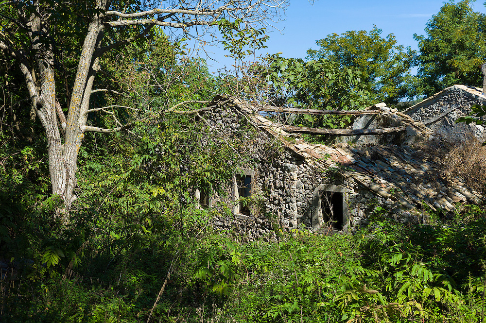 Derelict house in ruins in ancient village of Old Perithia - Palea Perithea, Northern Corfu, , Greece