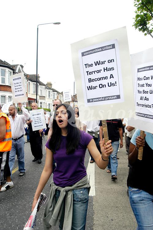 A demonstration against the raid of a house in Forest Gate by anti-terrorist police, Two brothers were arrested on suspicion of terrorism; London 2006