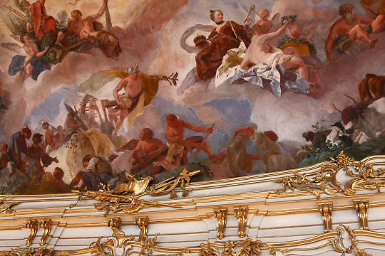 Schoenbrunn Palace; interior; ceiling mural; ornate gilded woodwork; Vienna; Austria; Wien