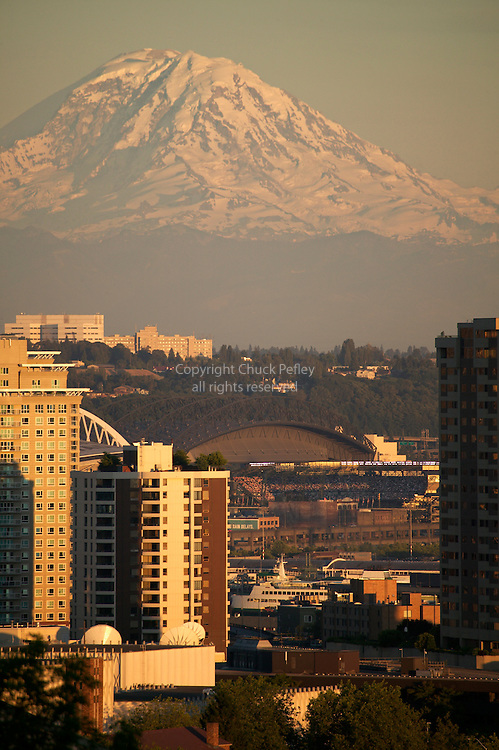 Mount Rainier with Safeco Field home of Seattle Mariners Baseball Team view from Kerry Park on Queen Anne Hill Seattle Washington