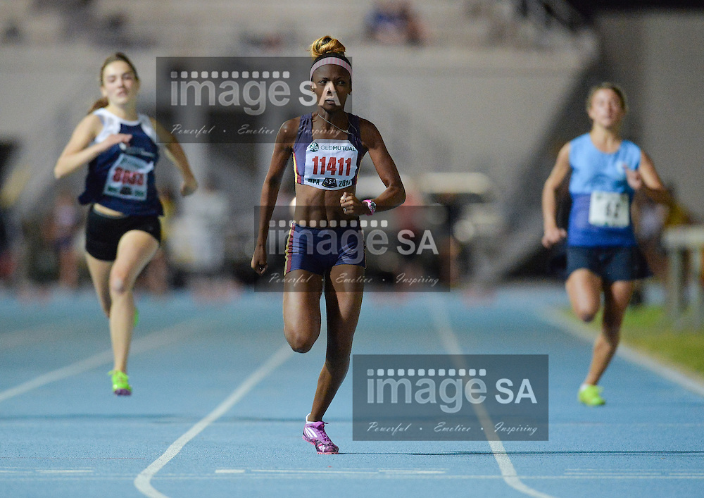 CAPE TOWN, SOUTH AFRICA - Wednesday 9 March 2016, Aneesah Haupt in the women's 100m during the Western Province Athletics League 3 Track and Field athletic meeting at the Green Point Athletics Stadium. <br /> Photo by Roger Sedres/ImageSA