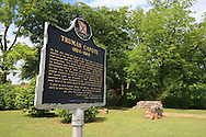 Historical sign marks site where childhood home of author Truman Capote once stood; Monroeville, Alabama.