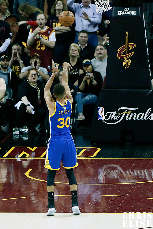 07 June 2017: Golden State Warriors guard Stephen Curry (30) is seen at the free throw line during the Golden State Warriors 118-113 victory over the Cleveland Cavaliers, in game 3 of the 2017 NBA Finals, at  the Quicken Loans Arena, Cleveland, Ohio, USA.