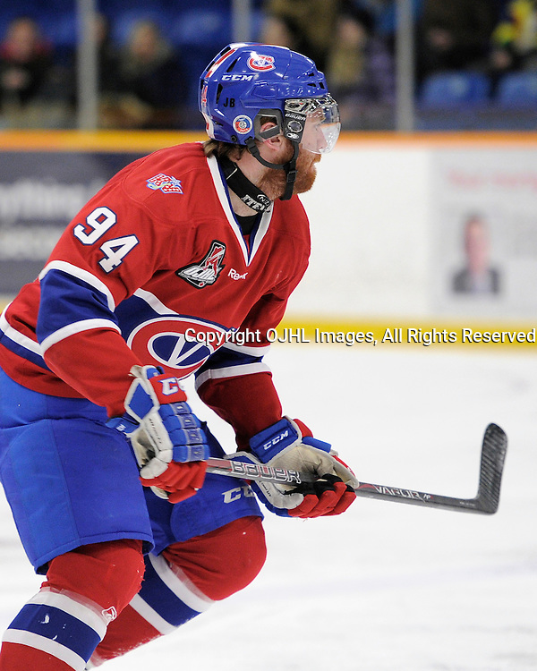 TRENTON, ON - Mar 18 : OJHL North East Conference playoff series round two, Kingston Voyageurs vs Trenton Golden Hawks, Spencer Green #94 during first period game action<br /> (Photo by Amy Deroche / OJHL Images)