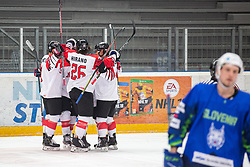 Japan celebrates during OI pre-qualifications of Group G between Slovenia men's national ice hockey team and Japan men's national ice hockey team, on February 9, 2020 in Ice Arena Podmezakla, Jesenice, Slovenia. Photo by Peter Podobnik / Sportida