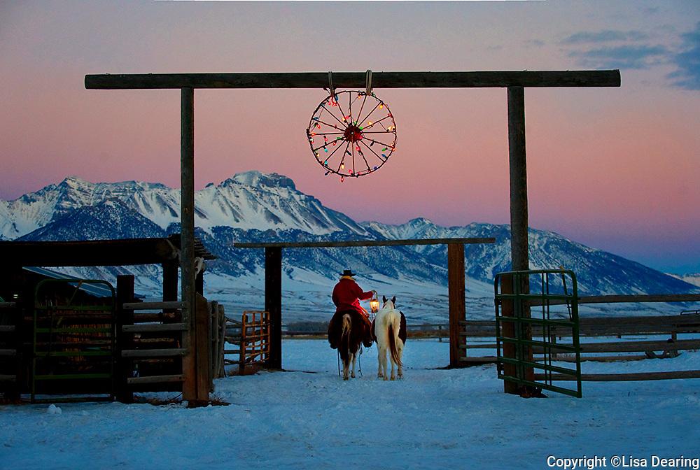 Cowboy Leading Horse through Gate