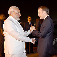 9.03.2018; New Delhi, India: PRESIDENT EMMANUEL MACRON AND WIFE BRIGITTE<br /> are welcomed on arrival in India by The Prime Minister at Air Force Station, Palam in New Delhi.<br /> The French President who is on a 3 day visit to India, will be attending the Founding Conference of the International Solar Alliance.<br /> Mandatory Credit Photo: &copy;NEWSPIX INTERNATIONAL<br /> <br /> IMMEDIATE CONFIRMATION OF USAGE REQUIRED:<br /> Newspix International, 31 Chinnery Hill, Bishop's Stortford, ENGLAND CM23 3PS<br /> Tel:+441279 324672  ; Fax: +441279656877<br /> Mobile:  07775681153<br /> e-mail: info@newspixinternational.co.uk<br /> **All Fees Payable To Newspix International**