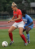 Ohio State forward Paige Maxwell (10) hold possession against University of North Carolina defender Satara Murray (44) as OSU takes on UNC in the second half of an NCAA women's college soccer game in Columbus, Ohio on Sunday, Sept. 4, 2011, at Jesse Owens Memorial Stadium.