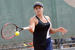 May 16, 2018 - Trnava, Slovakia - JANA FETT of Croatia in her first round match in the Empire Slovak Open tennis tournament in Trnava Slovakia (Credit Image: © Christopher Levy via ZUMA Wire)