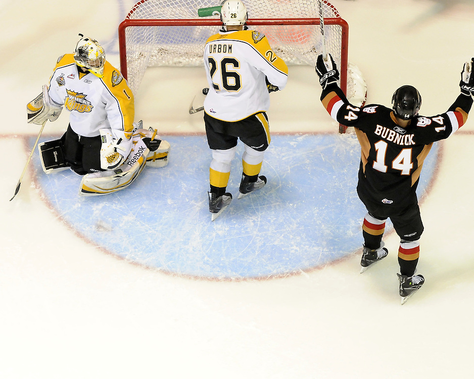 Jimmy Bubnick of the Calgary Hitmen celebrates a goal against the Brandon Wheat Kings in Game 6 of the 2010 MasterCard Memorial Cup in Brandon, MB on Wednesday May 19, 2010. Photo by Aaron Bell/CHL Images