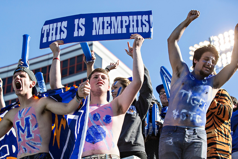 MEMPHIS, TN - OCTOBER 17:  Student section of the Memphis Tigers celebrates after a touchdown during a game against the Ole Miss Rebels at Liberty Bowl Memorial Stadium on October 17, 2015 in Memphis, Tennessee.  (Photo by Wesley Hitt/Getty Images) *** Local Caption ***