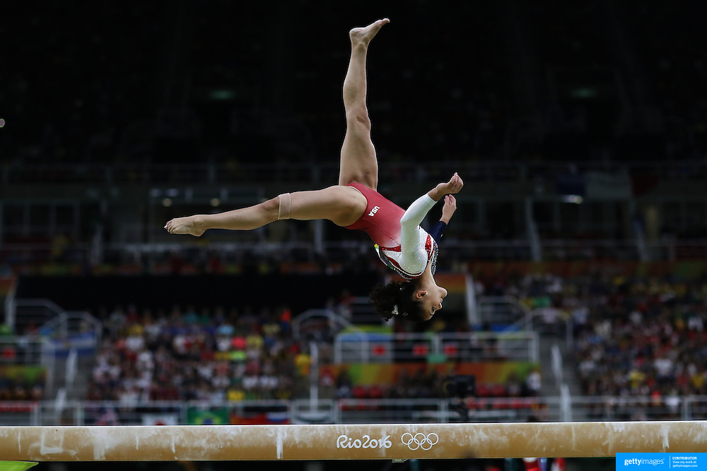 Gymnastics - Olympics: Day 4  Lauren Hernandez of the United States performing her routine on the balance beam during the Artistic Gymnastics Women's Team Final at the Rio Olympic Arena on August 9, 2016 in Rio de Janeiro, Brazil. (Photo by Tim Clayton/Corbis via Getty Images)