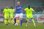 Jason Taylor (28) of Eastleigh and Adriano Moke (34) of York City during the Vanarama National League match between Eastleigh and York City at Arena Stadium, Eastleigh, United Kingdom on 12 November 2016. Photo by Graham Hunt.