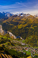 View down to Wengen from Mannlichen, Swiss Alps, Canton Bern, Switzerland