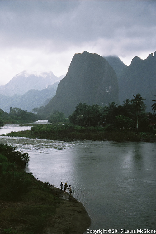Vang Vieng Laos Moutains & River with Children Playing