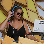 London, England, UK. 16th July 2017. Emily Rawson is a Dj at the Citadel Festival at Victoria Park, London, UK.