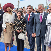 NLD/Terneuzen/20190831 - Start viering 75 jaar vrijheid, Koning Willem Alexander en  Koningin Maxima samen met Koning Filip en Koningin Mathilde van Belgie met Gerdi Verbeet en Paul Blokhuis