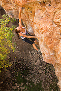 "Lauren Lee McCormick climbing ""Return to Sender"" 12a, Rifle Mountain Park, Rifle Colorado."