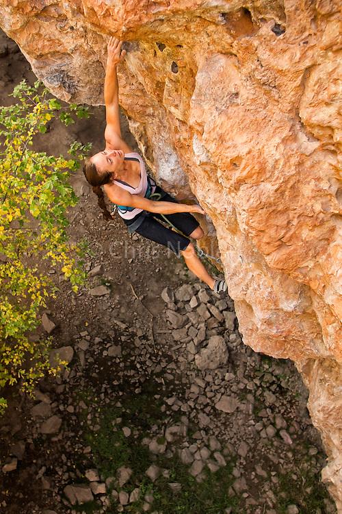 "Lauren Lee McCormick climbing ""Return to Sender"" 12a, Rifle Mountain Park, Rifle Colorado."