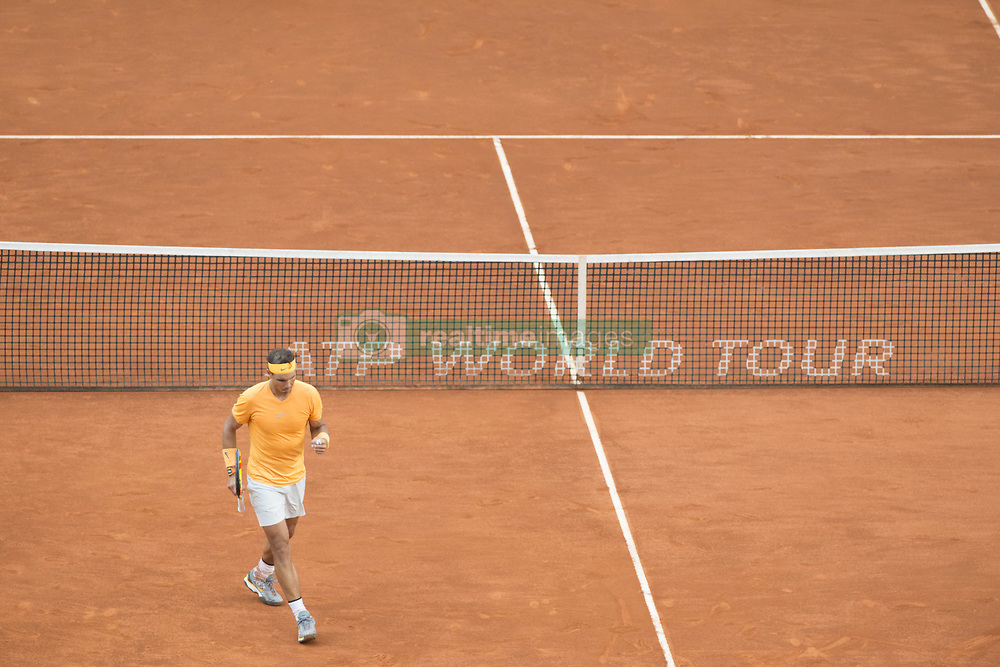 May 11, 2018 - Madrid, Madrid, Spain - RAFAEL NADAL celebrates in a match against DOMINIC THIEM during the quarter finals of Mutua Madrid Open 2018 - ATP in Madrid. DOMINIC THIEM won the match 7-5(3) 6-3. (Credit Image: © Patricia Rodrigues via ZUMA Wire)