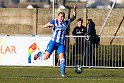 Danielle Carlton runs during the FA Women's Sussex Challenge Cup semi-final match between Brighton Ladies and Hassocks Ladies FC at Culver Road, Lancing, United Kingdom on 15 February 2015. Photo by Geoff Penn.