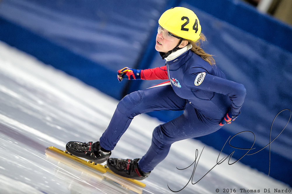 March 19, 2016 - Verona, WI - Ella Trosin, skater number 247 competes in US Speedskating Short Track Age Group Nationals and AmCup Final held at the Verona Ice Arena.