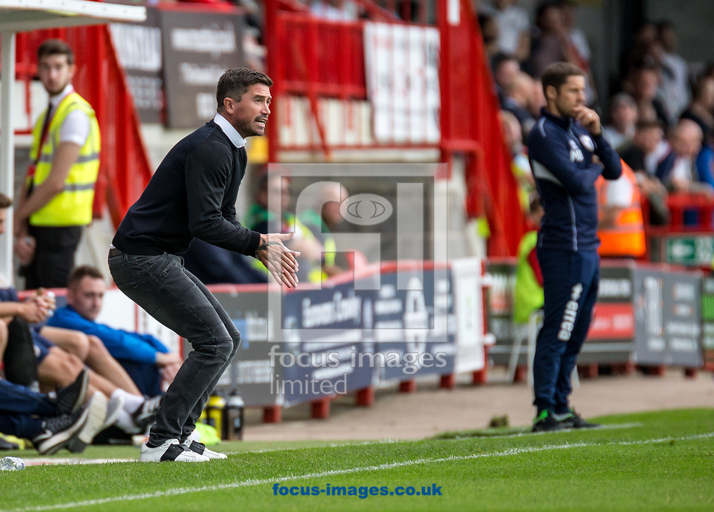 Harry Kewell head coach of Crawley Town animated during the Sky Bet League 2 match at  Checkatrade.com Stadium, Crawley<br /> Picture by Liam McAvoy/Focus Images Ltd 07413 543156<br /> 05/08/2017