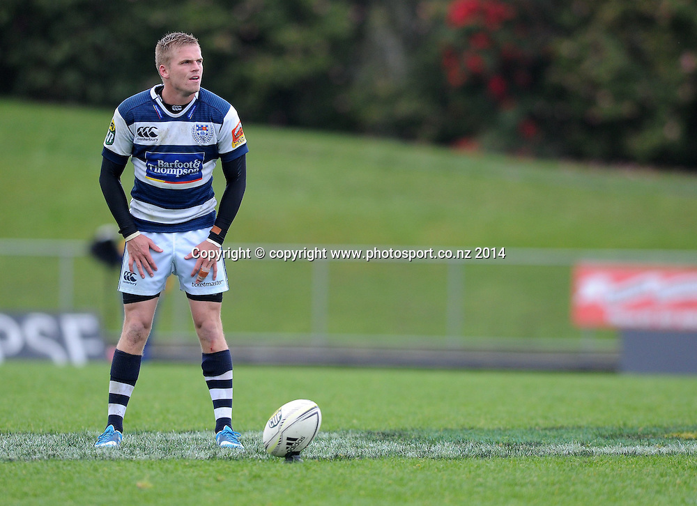 Auckland's Gareth Anscombe lines up a conversion in the ITM Cup rugby match, Bay of Plenty vs Auckland, Rotorua International Stadium, Rotorua, September 13, 2014. Photo: Kerry Marshall / photosport.co.nz