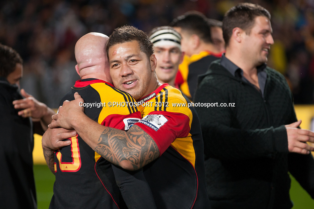 Chiefs' Brendon Leonard and Mahonri Schwalger celebrate after the Investec Super Rugby final between Chiefs and Sharks won by Chiefs 37-6 at Waikato Stadium, Hamilton, New Zealand, Saturday 4 August 2012. Photo: Stephen Barker/Photosport.co.nz