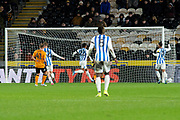 Goal Karlan Grant of Huddersfield Town scores a goal to take the lead 0-1 during the EFL Sky Bet Championship match between Hull City and Huddersfield Town at the KCOM Stadium, Kingston upon Hull, England on 28 January 2020.