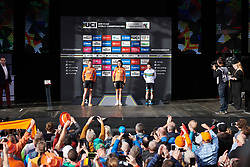 Top three take in the applause at UCI Road World Championships 2019 Women's Elite Road Race a 149.4 km road race from Bradford to Harrogate, United Kingdom on September 28, 2019. Photo by Sean Robinson/velofocus.com