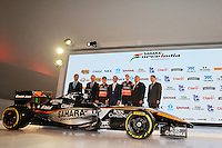 (L to R): Carlos Slim Domit (MEX) Chairman of America Movil with Francisco Maass Pena (MEX) Deputy Minister for Tourism; Sergio Perez (MEX) Sahara Force India F1; Miguel Angel Mancera (MEX) Mayor of Mexico City; Nico Hulkenberg (GER) Sahara Force India F1; Dr. Vijay Mallya (IND) Sahara Force India F1 Team Owner; Alejandro Soberon (MEX) Corporacion Interamericana CEO.<br /> Sahara Force India F1 Team Livery Reveal, Soumaya Museum, Mexico City, Mexico. Wednesday 21st January 2015.