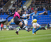 St Johnstone&rsquo;s Thomas Scobbie tries to stop Dundee&rsquo;s Marcus Haber - St Johnstone v Dundee in the Ladbrokes Scottish Premiership at McDiarmid Park, Perth: Picture &copy; David Young<br /> <br />  - &copy; David Young - www.davidyoungphoto.co.uk - email: davidyoungphoto@gmail.com