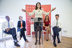 © Licensed to London News Pictures. 20/07/2015. London, UK. Labour leadership contender Liz Kendall giving a speech at Livity in Brixton to Labour supporters alongside (L-R) Chuka Umunna, Emma Reynolds, Gloria De Piero and Tristram Hunt. Photo credit : James Gourley/LNP