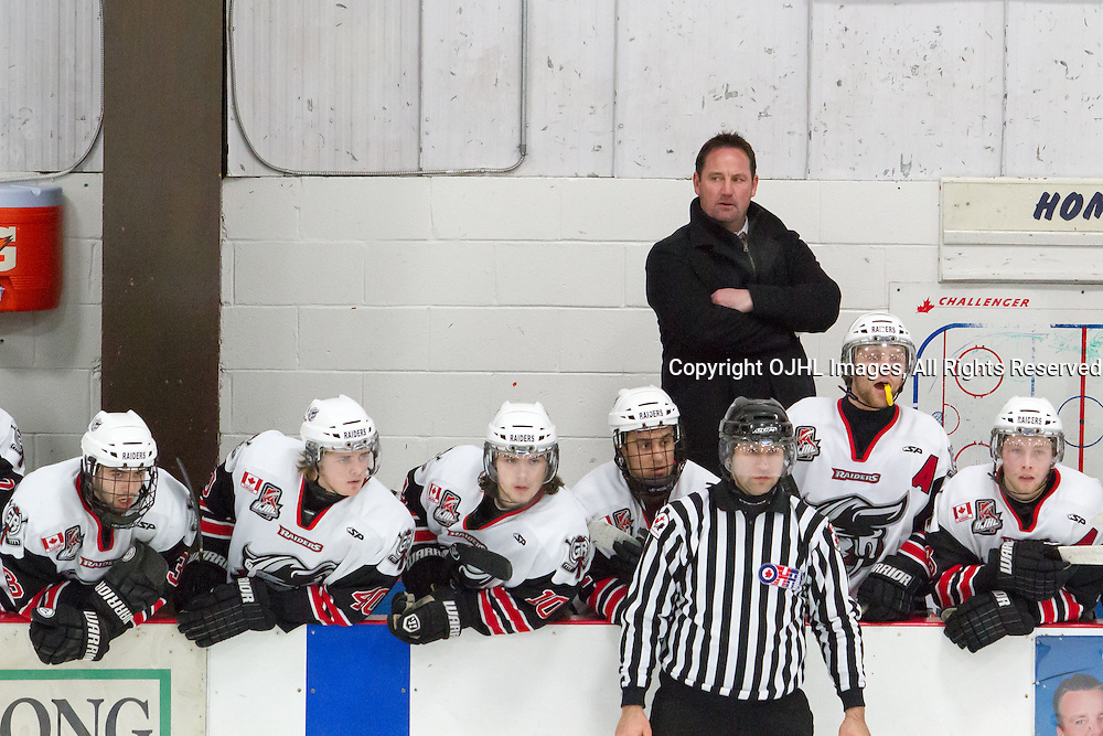 Georgetown, ON  - Mar 5 : Ontario Junior Hockey League playoff game action between the  Georgetown Raiders vs Milton Icehawks;  Greg Walters has his eye on the prize.(Photo by Kevin Sousa / OJHL Images)