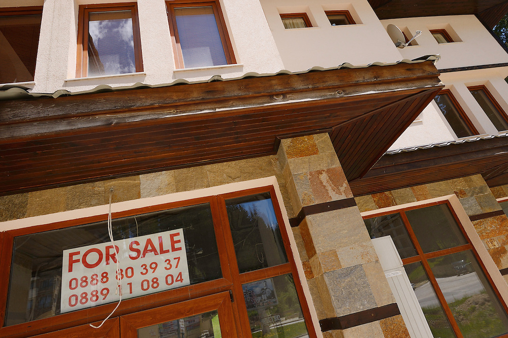 For sale signs, Pamporovo, Western Rhodope mountains, Bulgaria