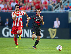 CHICAGO, USA - Sunday, July 27, 2014: Liverpool's Joe Allen in action against Olympiacos during the International Champions Cup Group B match at the Soldier Field Stadium on day seven of the club's USA Tour. (Pic by David Rawcliffe/Propaganda)