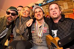 18.02.2011, Tirol Berg, Garmisch Partenkirchen, GER, FIS Alpin Ski WM 2011, GAP, Sölden Abend, im Bild bronze Medaille Philipp Schoerghofer (AUT) mit Freundin Nina singt mit der Gruppe Klimmstein aus der Steiermark // bronze Medal Philipp Schoerghofer (AUT) during Soelden Evening Fis Alpine Ski World Championships in Garmisch Partenkirchen, Germany on 18/2/2011. EXPA Pictures © 2011, PhotoCredit: EXPA/ J. Groder