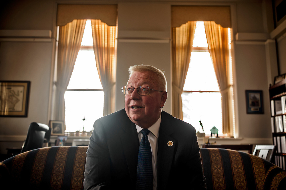 Photo by Matt Roth.Assignment ID: 30135124A..Mount St. Mary's University President Dr. Thomas Powell is photographed in his office at Bradley Hall in Emmitsburg, Maryland on Thursday, November 29, 2012..