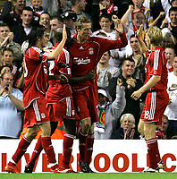 Photo: Paul Thomas.<br /> Liverpool v Toulouse. UEFA Champions League Qualifying. 28/08/2007.<br /> <br /> Peter Crouch (15) and Liverpool celebrate his goal.