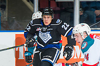 KELOWNA, CANADA - JANUARY 25:  Tanner Sidaway #22 of the Victoria Royals skates against the Kelowna Rockets on January 25, 2019 at Prospera Place in Kelowna, British Columbia, Canada.  (Photo by Marissa Baecker/Shoot the Breeze)