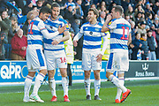 GOAL 4-0 Queens Park Rangers midfielder Massimo Luongo (21) scores and celebrates with his teammates during the EFL Sky Bet Championship match between Queens Park Rangers and Swansea City at the Loftus Road Stadium, London, England on 13 April 2019.