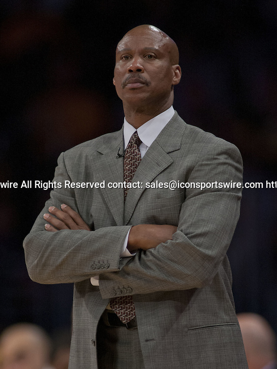 Dec. 19, 2014 - Los Angeles, California, U.S - Coach Byron Scott of the Los Angeles Lakers during their game with the Oklahoma City Thunder. Los Angeles Lakers lose to the visiting Oklahoma City Thunder 104-103, on Friday December 19, 2014 at the Staples Center in Los Angeles, California