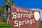 Town welcome sign at Christmas Circle, Borrego Springs, California USA