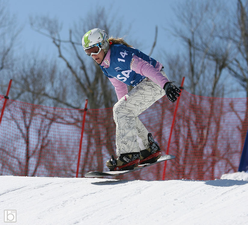 Tanja Freieden of Switzerland competes during the qualification round for the Nokia Snowboard FIS World Cup 2007 at Whiteface Mountain in lake Placid, N.Y., Wednesday, Mar 7,2007.  This qualification round will determine placings for the Mar 8 snowboard-cross competition. (Photo/Todd Bissonette)