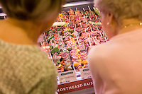 9 July, 2008. New York, NY. Two elderly women look at the new assortment of kabobs and spiedini that is presented at the meat and poultry section of the Whole Foods Market, which opened in Tribeca, on July 9th 2008.<br /> <br /> ©2008 Gianni Cipriano for The New York Times<br /> cell. +1 646 465 2168 (USA)<br /> cell. +1 328 567 7923 (Italy)<br /> gianni@giannicipriano.com<br /> www.giannicipriano.com
