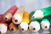 Sharp coloured pencils. Close up Selective focus