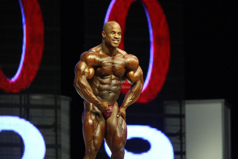 Victor Martinez on stage at the finals for the 2009 Mr. Olympia competition in Las Vegas.